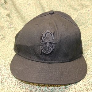 New Era Black Seattle Mariners Logo Hat sz 7 3/8